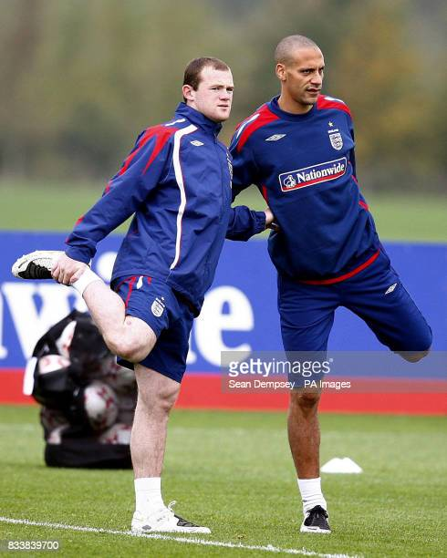 England's Wayne Rooney and Rio Ferdinand during a training session at London Colney Hertfordshire
