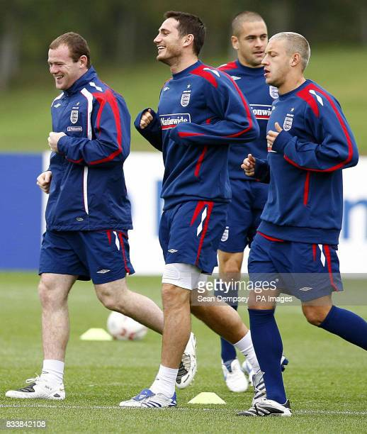 England's Wayne Rooney Frank Lampard and Alan Smith during a training session at London Colney Hertfordshire
