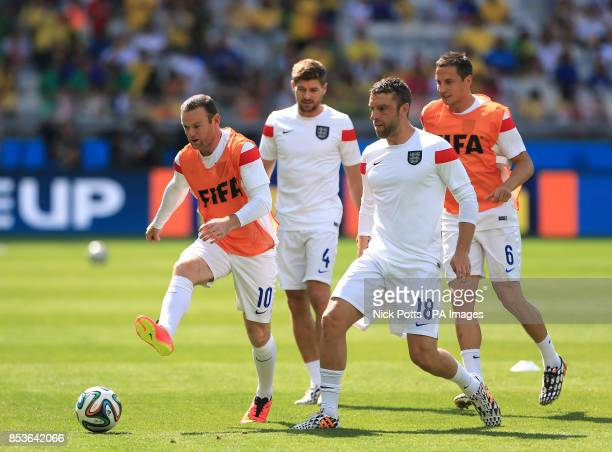 England's Wayne Rooney Rickie Lambert Steven Gerrard Rickie Lambert and Phil Jagielka during the FIFA World Cup Group D match at the Estadio Mineirao...