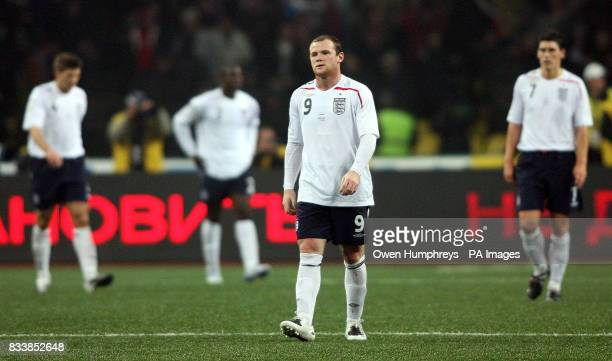 England's Wayne Rooney walks off dejected following the UEFA European Championship qualifying match at the Luzhiniki Stadium Moscow Russia