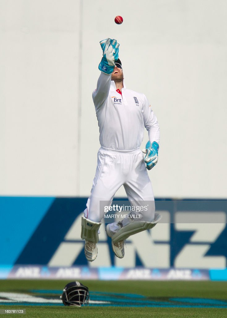England's wicketkeeper Matt Prior catches out New Zealand's Trent Boult during day three of the international cricket Test match between New Zealand and England at the Basin Reserve in Wellington on March 16, 2013. AFP PHOTO / Marty MELVILLE
