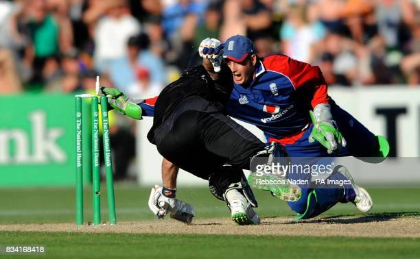 England's wicketkeeper Phil Mustard fails to run out New Zealand's Jamie How during the Fourth One Day International match at McLean Park Napier New...