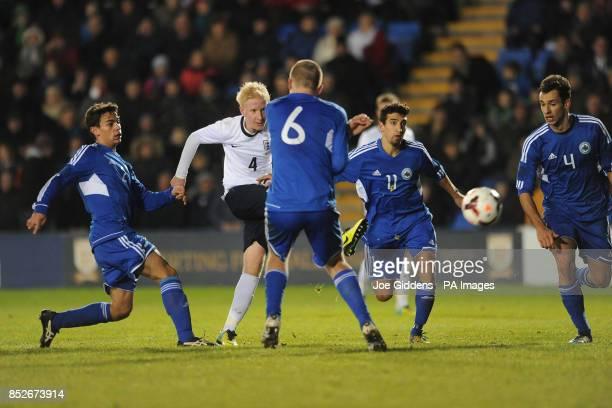 England's Will Hughes scores the ninth goal during the UEFA European U21 Championship Qualyfying match at the Greenhous Meadown Shrewsbury