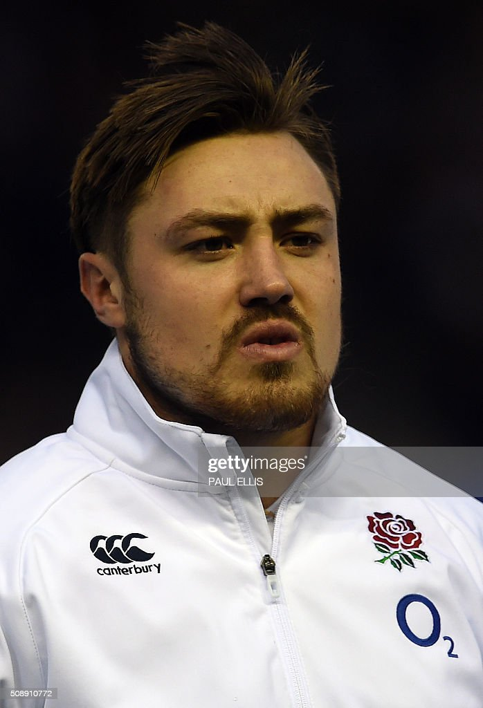 England's wing Jack Nowell sings the national anthem ahead of the Six Nations international rugby union match between Scotland and England at Murrayfield in Edinburgh, Scotland on Febuary 6, 2016. England won the match 15-9. / AFP / PAUL ELLIS