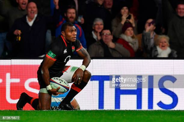 England's wing Semesa Rokoduguni scores a try during the Autumn international rugby union test match between England and Argentina at Twickenham...