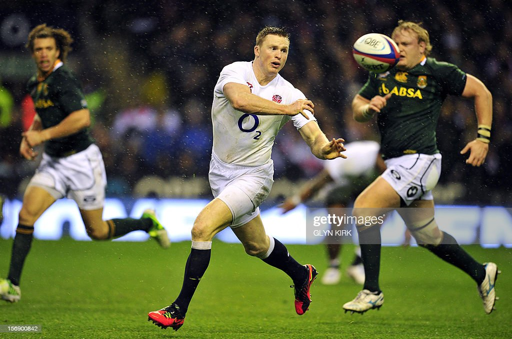 England's winger Chris Ashton receives a pass during the International rugby union match against South Africa at Twickenham Stadium, southwest of London, on November 24, 2012. South Africa won the game 16-15.