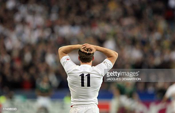 England's winger Mark Cueto reacts during the rugby union World Cup final match England vs South Africa 20 October 2007 at the Stade de France in...