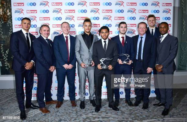 England's Young Lions Keith Downing Steve Cooper Joel Latibeaudiere Jay Dasilva Lewis Cook and Paul Simpson win the Inspirational Performance Award...