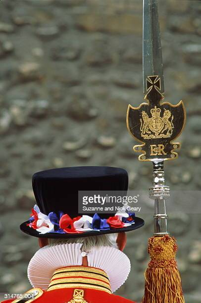 England,Tower of London,Beefeater  (Yeoman) and Partisan,rear close-up
