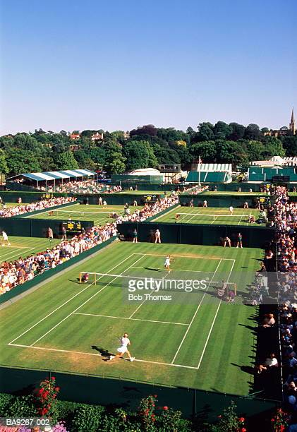 England,Wimbledon,All England Lawn Tennis Club,view over courts