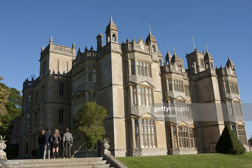 Englefield House near Reading in Berkshire doubles as the X-Mansion in a scene from the film 'X-Men: First Class', 2011. Gathered in front (visible) are actors Lucas Till, Nicholas Hoult, Jennifer Lawrence and Caleb Landry Jones.