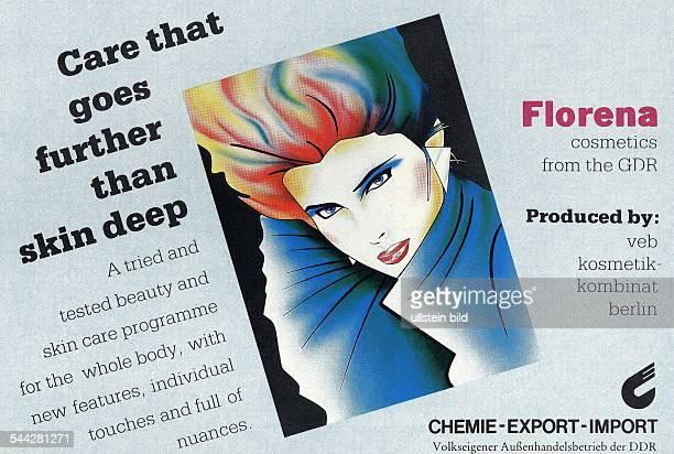 DDR englischsprachige Werbung fuer die Kosmetikfirma Florena in einem Bordjournal der Fluggesellschaft Interflug um 1985