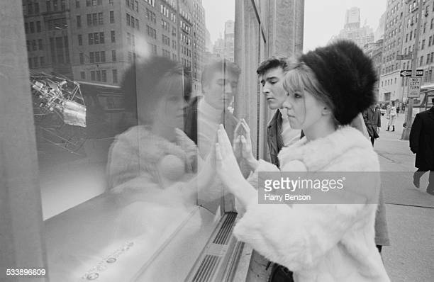 English actess Jane Asher windowshopping with British actor Gawn Grainger in New York City 21st February 1967