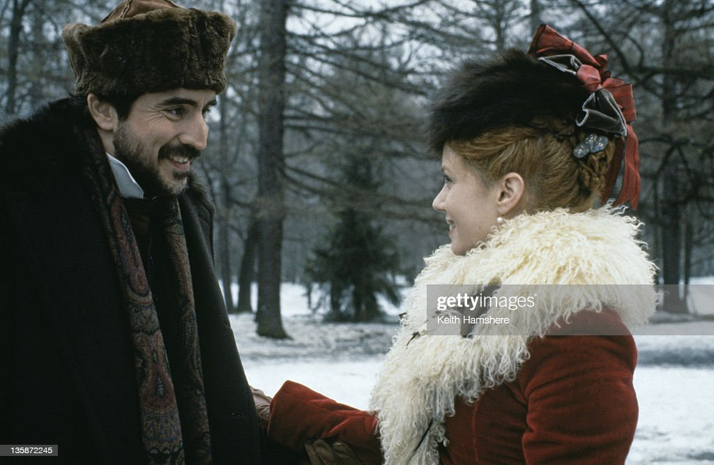 English actor <a gi-track='captionPersonalityLinkClicked' href=/galleries/search?phrase=Alfred+Molina&family=editorial&specificpeople=211218 ng-click='$event.stopPropagation()'>Alfred Molina</a> as Levin and actress <a gi-track='captionPersonalityLinkClicked' href=/galleries/search?phrase=Mia+Kirshner&family=editorial&specificpeople=233670 ng-click='$event.stopPropagation()'>Mia Kirshner</a> as Kitty in the film 'Leo Tolstoy's Anna Karenina', 1997. The movie was filmed on location in Russia.