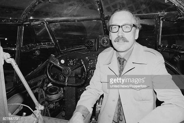 English actor Bernard Hepton who plays the character of Albert Foiret in the BBC television drama series Secret Army pictured in the cockpit of an...