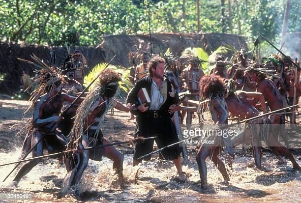 English actor Bernard Hill as boatswain William Cole being harrassed by tribesmen in the film 'The Bounty' 1984