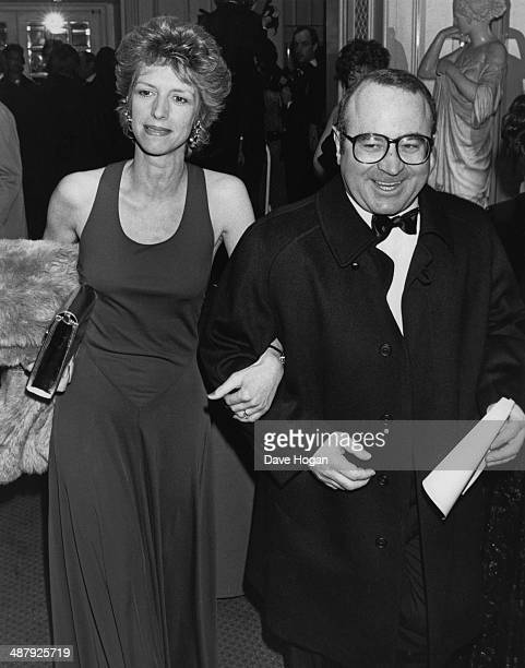 English actor Bob Hoskins with his wife Linda at the BAFTA awards London UK 22nd March 1987 Hoskins won the Best Actor award for his role in 'Mona...