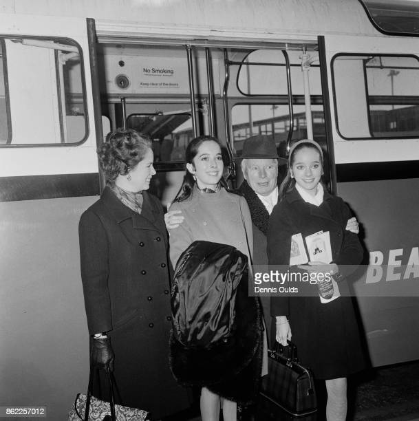 English actor Charlie Chaplin arrives at London Airport from Switzerland for the premiere of his latest film 'A Countess from Hong Kong' 3rd January...