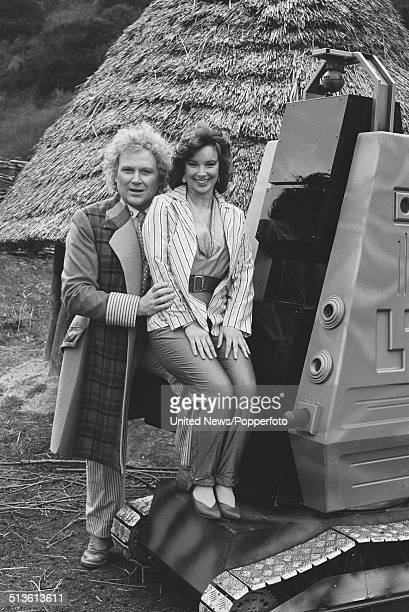 English actor Colin Baker posed with Nicola Bryant in costume as the Doctor and Peri Brown on the set of the BBC television series Doctor Who on 10th...