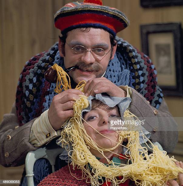 English actor David Jason and English actress Denise Coffey pictured together in a scene from the television series 'Do Not Adjust Your Set' in 1968
