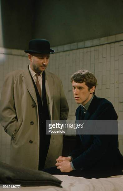 English actor Donald Pleasence pictured in a scene with fellow actor Michael Crawford from the television drama 'The Move After Checkmate' in 1966