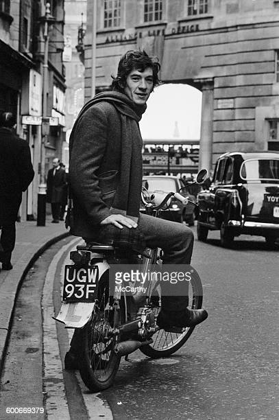 English actor Ian McKellen on a moped with Lplates in London UK 25th January 1970