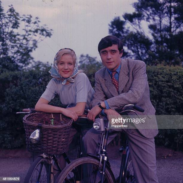 1968 English actor Ian McShane pictured with actress Patricia Garwood on the set of the television series 'You Can't Win' in 1968