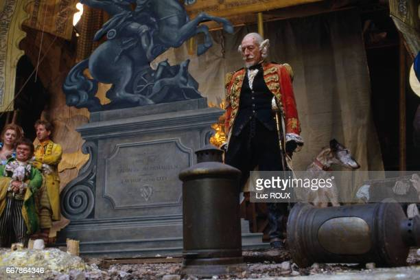 English actor John Neville on the set of the film The Aventures of Baron Munchausen directed by Terry Gilliam at Cinecitta studios