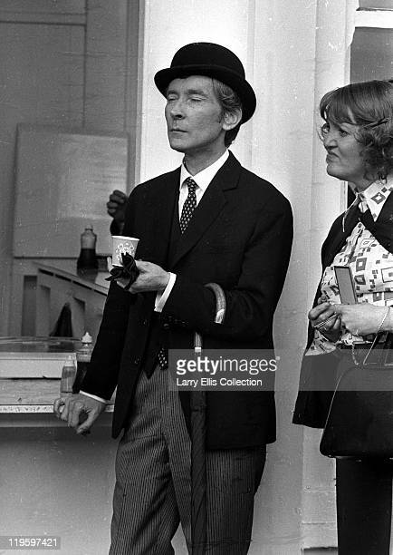English actor Kenneth Williams and actress Patsy Rowlands in Brighton for the filming of 'Carry On at Your Convenience' 1971