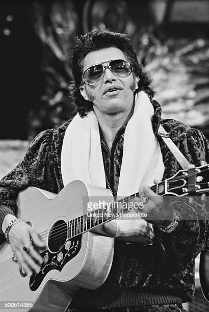 English actor Martin Shaw pictured in his role as Elvis Presley in the West End production of the musical 'Are You Lonesome Tonight' in London on 1st...