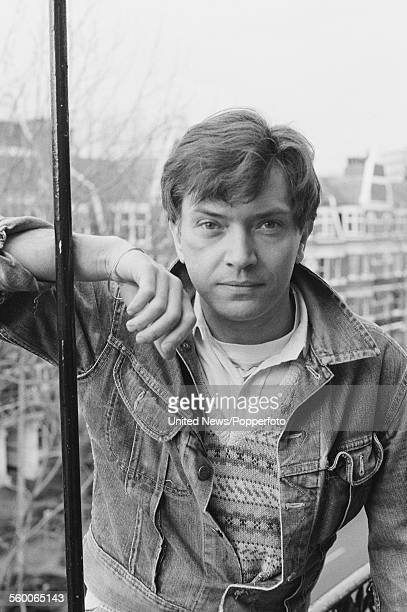 English actor Martin Shaw posed wearing a denim jacket on a balcony in London on 27th January 1984