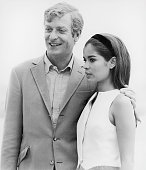 English actor Michael Caine with model Bianca Jagger on the set of Paramount Pictures' 'The Italian Job' 1969