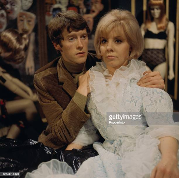 English actor Michael Crawford pictured with actress June Barry in a scene from the television drama 'The ThreeBarrelled Shotgun' in 1967