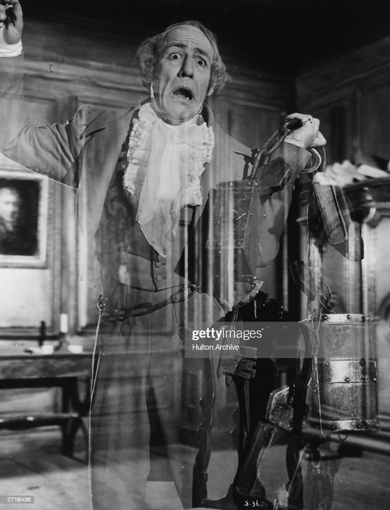 English actor Michael Hordern as Marley's Ghost in the film 'Scrooge' directed by Brian Desmond Hurst for Renown Studios