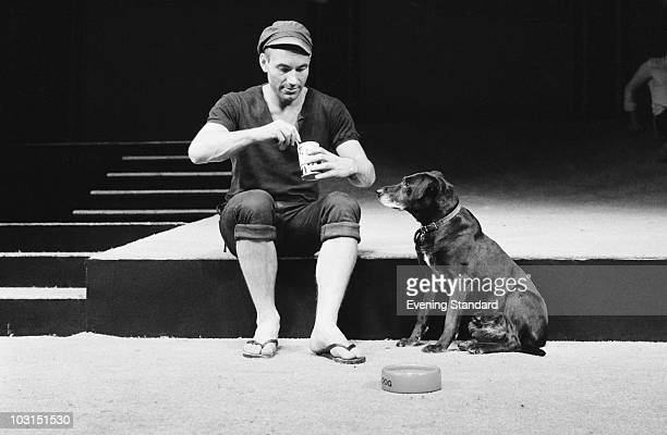 English actor Patrick Stewart as Launce with his dog Crab during rehearsals for Robin Phillips' production of 'Two Gentlemen Of Verona' for the Royal...