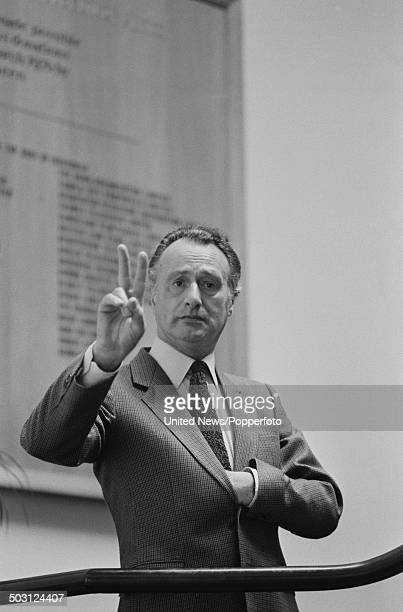 English actor Paul Eddington pictured in character as Prime Minister Jim Hacker from the television comedy series Yes Prime Minister in London on 3rd...