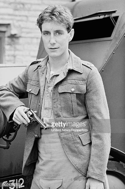 English actor Paul McGann dressed in character as Percy Toplis during the filming of the television series 'The Monocled Mutineer' on 19th June 1985