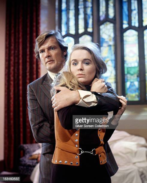 English actor Roger Moore as Lord Brett Sinclair and Sinead Cusack as Jenny Lindley in 'Take Seven' an episode of the TV series 'The Persuaders'...
