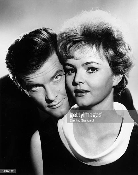 English actor Roger Moore as 'The Saint' with his leading lady Erica Rogers in the episode entitiled 'Pearls of Peace'