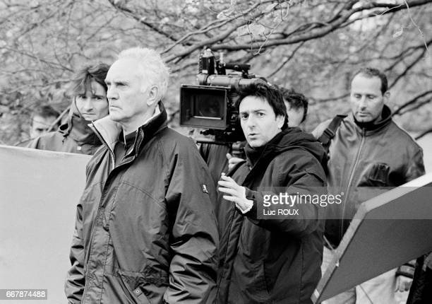 English actor Terence Stamp is directed by French actor and director Yvan Attal on the set of Attal's film Ma Femme est une Actrice