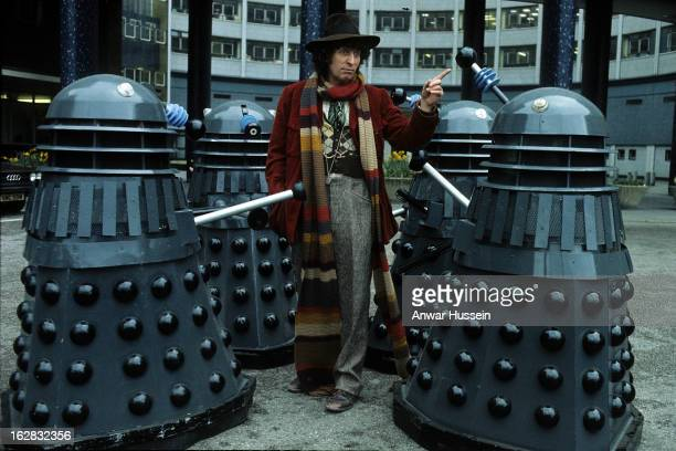 English actor Tom Baker in his role as the fourth incarnation of Doctor Who in the British science fiction television series of the same name With...