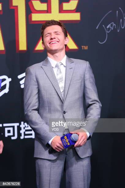English actor Tom Holland attends the premiere of film 'SpiderMan Homecoming' on September 4 2017 in Beijing China