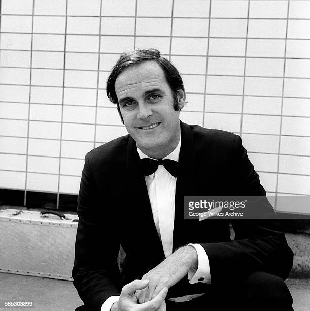 English actor writer and comedian John Cleese filming a sketch for the television show 'Monty Python's Flying Circus'