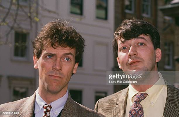 English actors and comedians Hugh Laurie and Stephen Fry circa 1995