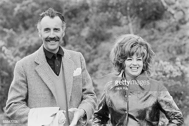 English actors Christopher Lee and Diana Dors on the film set for 'Nothing But the Night' Dartmoor Devon 5th May 1972