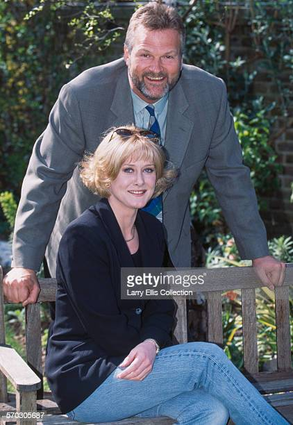 English actors Clive Mantle and Sarah Lancashire during production of the BBC comedy series 'Bloomin' Marvellous' circa 1997