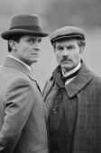 English actors Jeremy Brett and David Burke star in the television series 'The Adventures of Sherlock Holmes' UK 7th March 1984