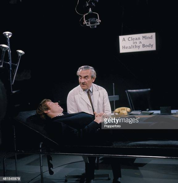 1968 English actors John Le Mesurier and Michael Crawford pictured together in a scene from the television series 'World Of Comedy Innocent but...