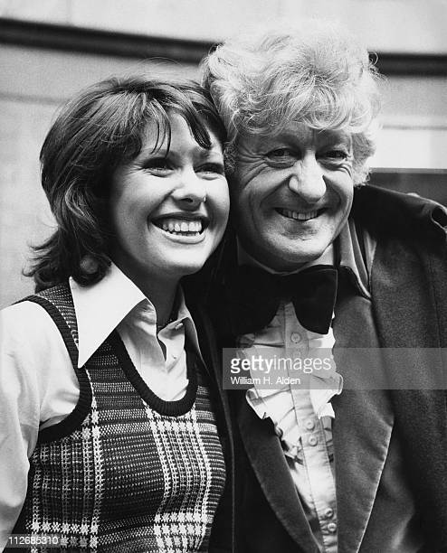 English actors Jon Pertwee and Elisabeth Sladen outside BBC TV Centre London 26th June 1973 Pertwee and Sladen play Doctor Who and his companion...