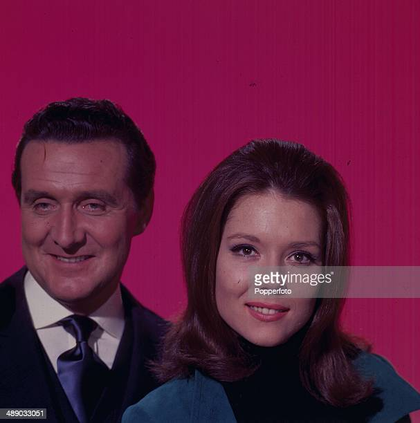 English actors Patrick Macnee and Diana Rigg pictured in their roles as 'John Steed' and 'Emma Peel' from the television series 'The Avengers' in 1967